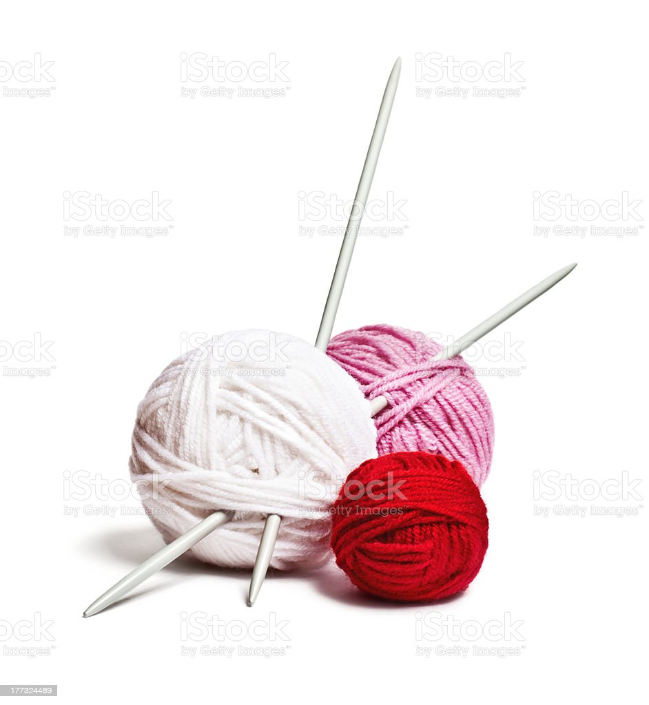 multi-colored balls of yarn royalty-free stock photo