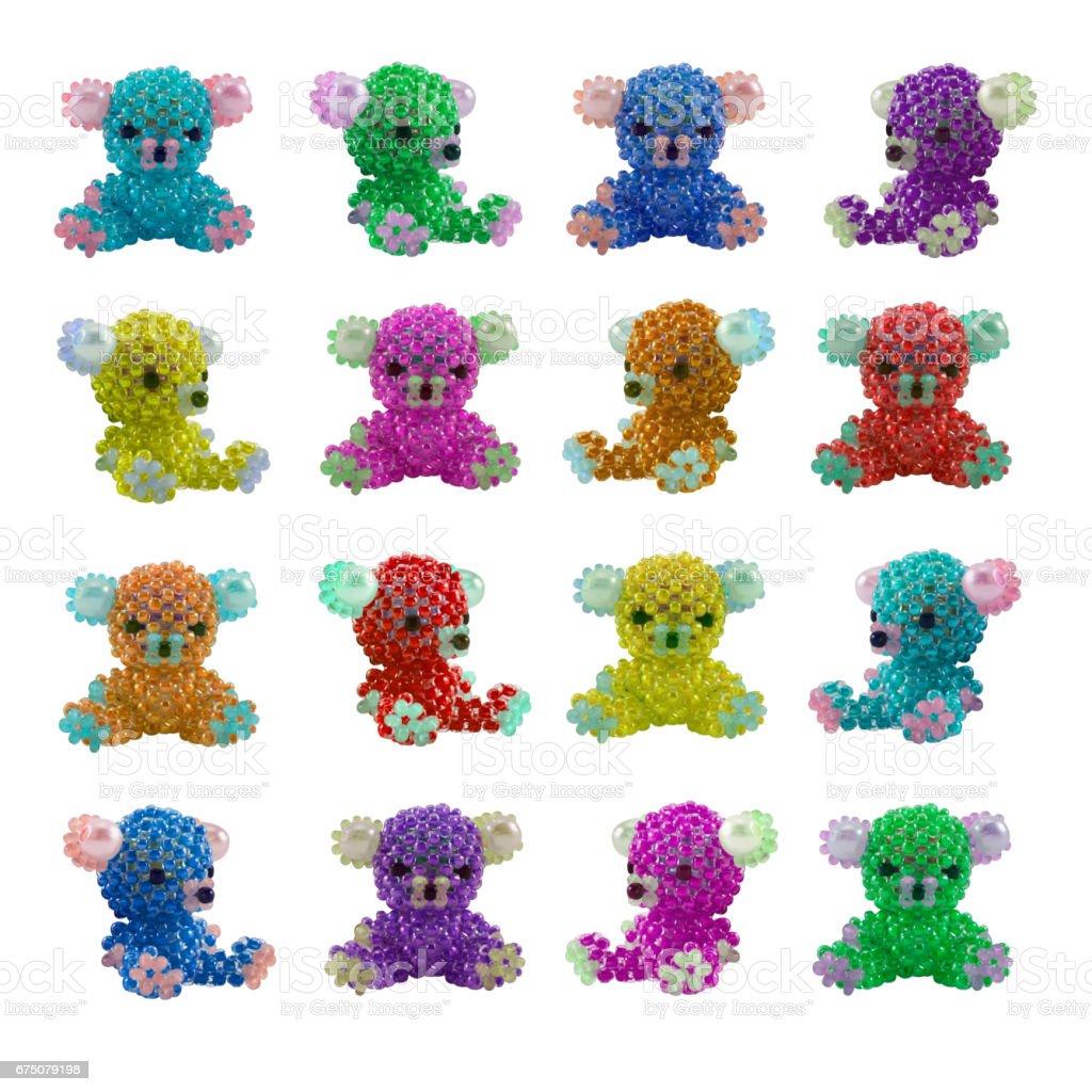 Multicolored beaded bears stock photo