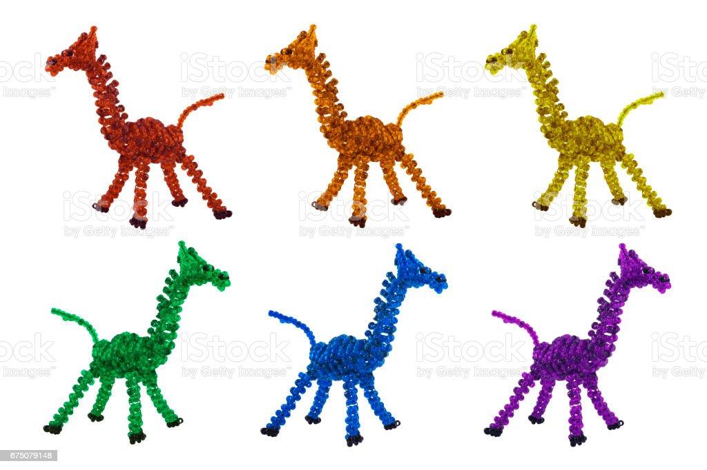 Multicolored beaded giraffes stock photo