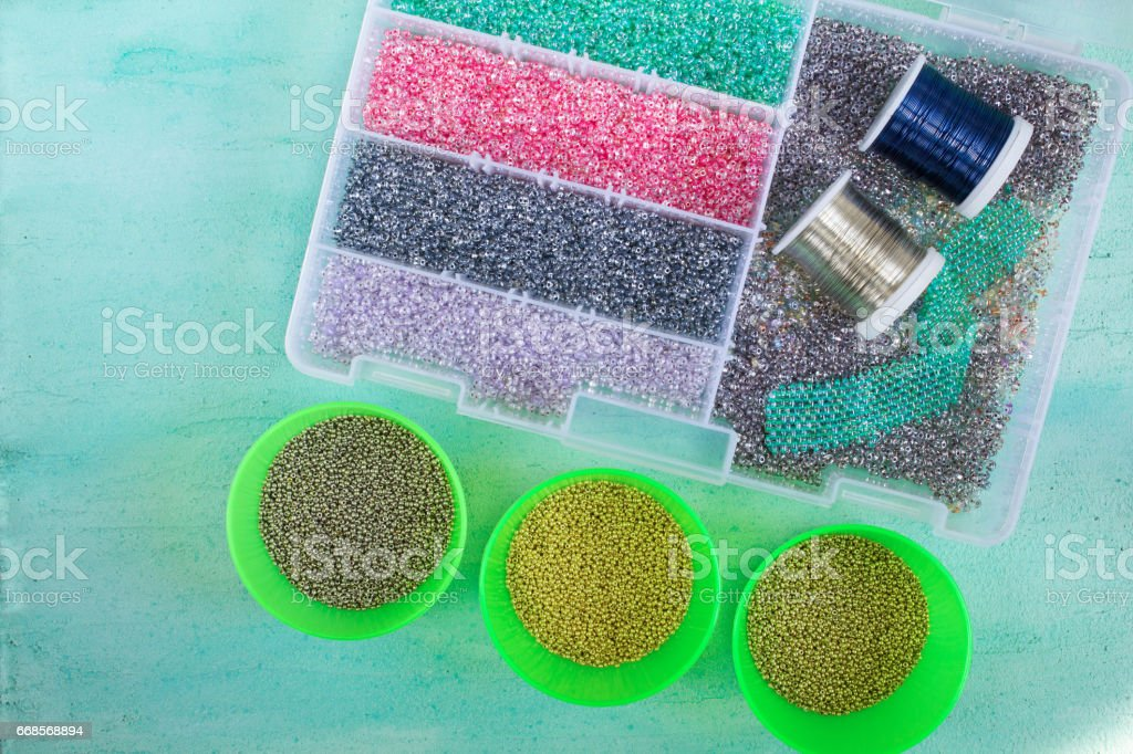 Multi-colored beads and wire stock photo