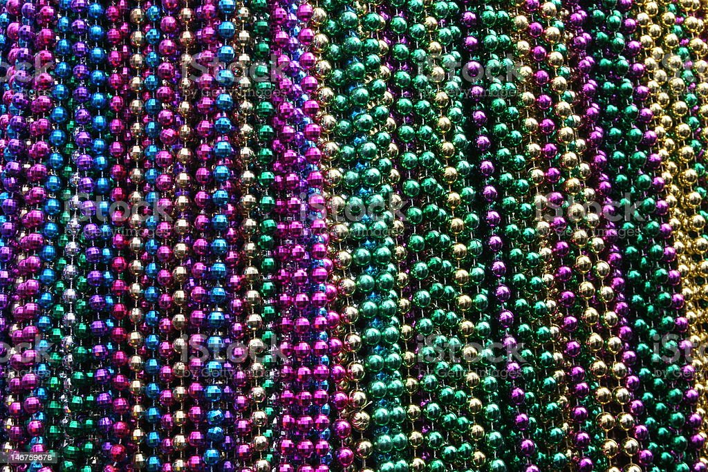 Multicolored beads on a Mardi Gras float stock photo