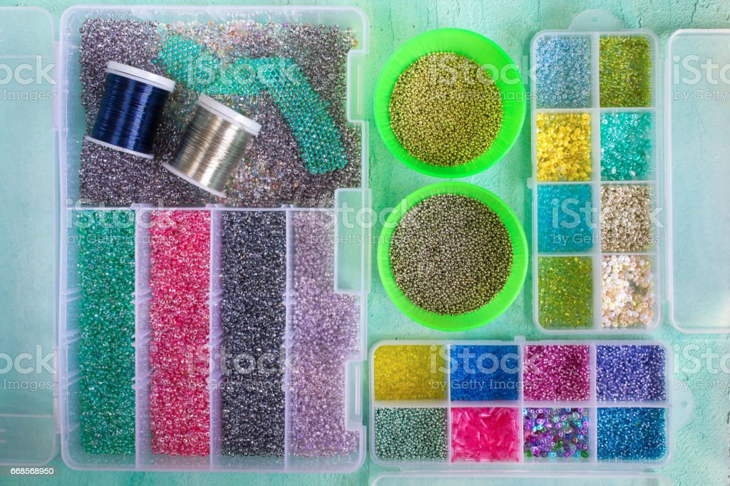 Multi-colored beads stock photo