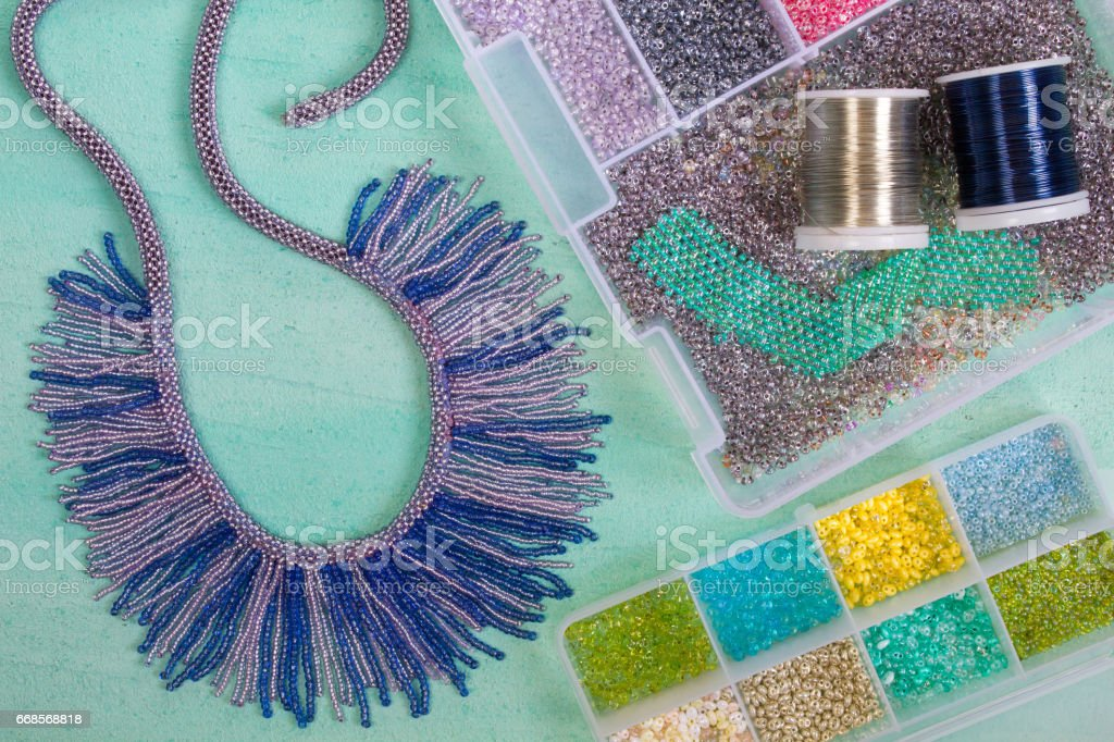 Multi-colored beads,necklace and wire stock photo