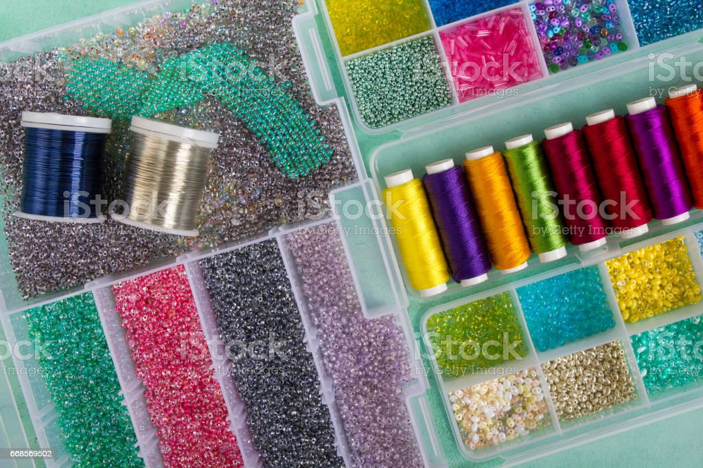 Multi-colored beads,wire and coil stock photo