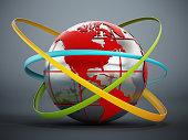 Multi-colored belts around glass globe