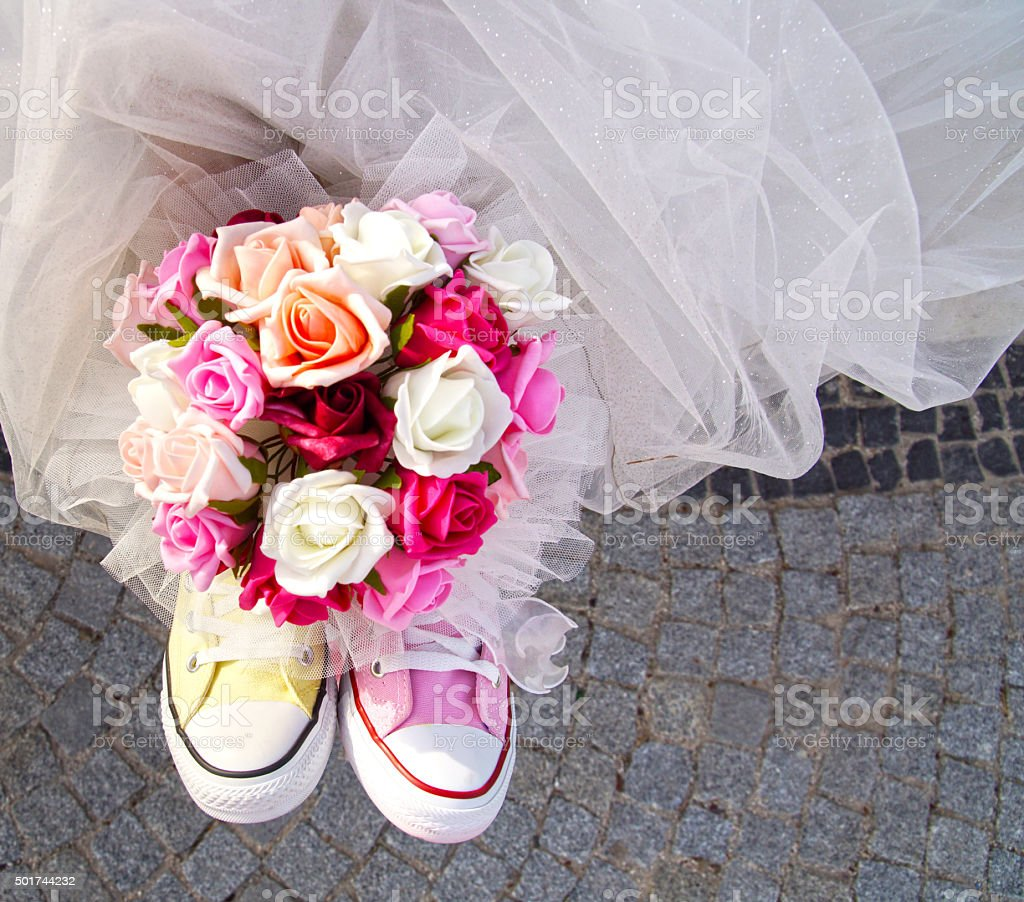 multi-colored bridal shoes stock photo