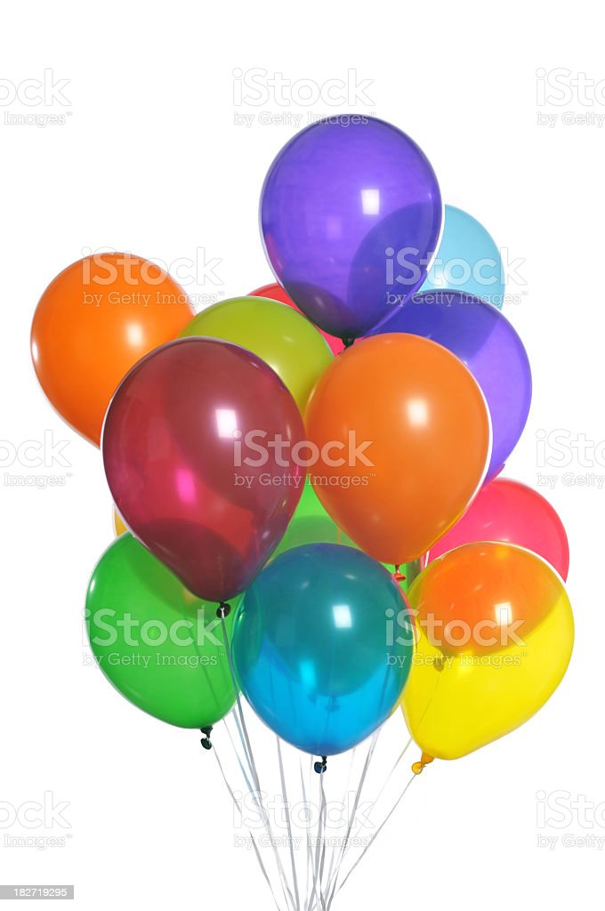 Multicolored Bunch of Stringed Balloons on White Background stock photo