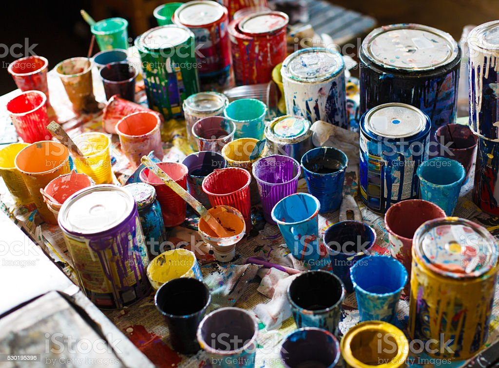 multicolored cans with paint, arts background stock photo
