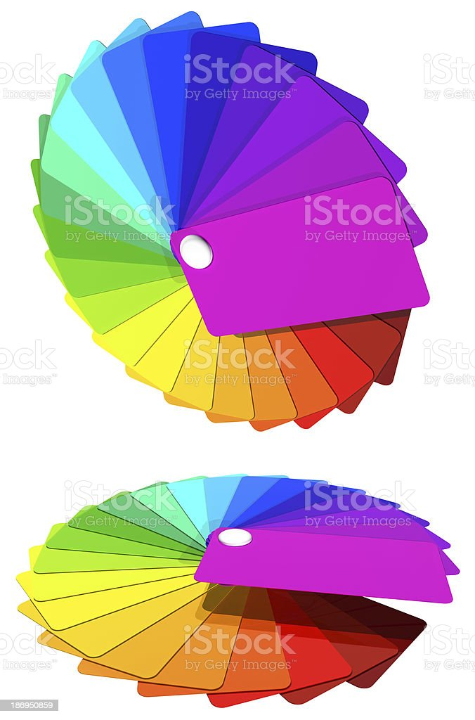 multicolored cards by a fan -  rainbow. royalty-free stock photo