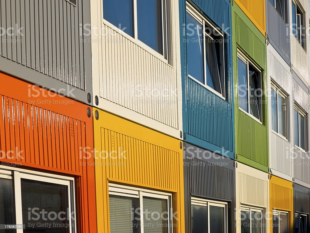 multicolored cargo containers stock photo