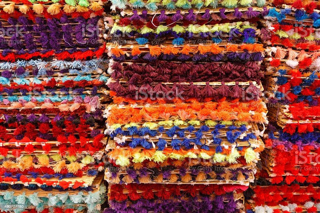 Multicolored carpets on souk in Marrakech, Morocco stock photo