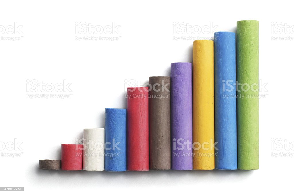Multicolored Chalk Showing Growth royalty-free stock photo