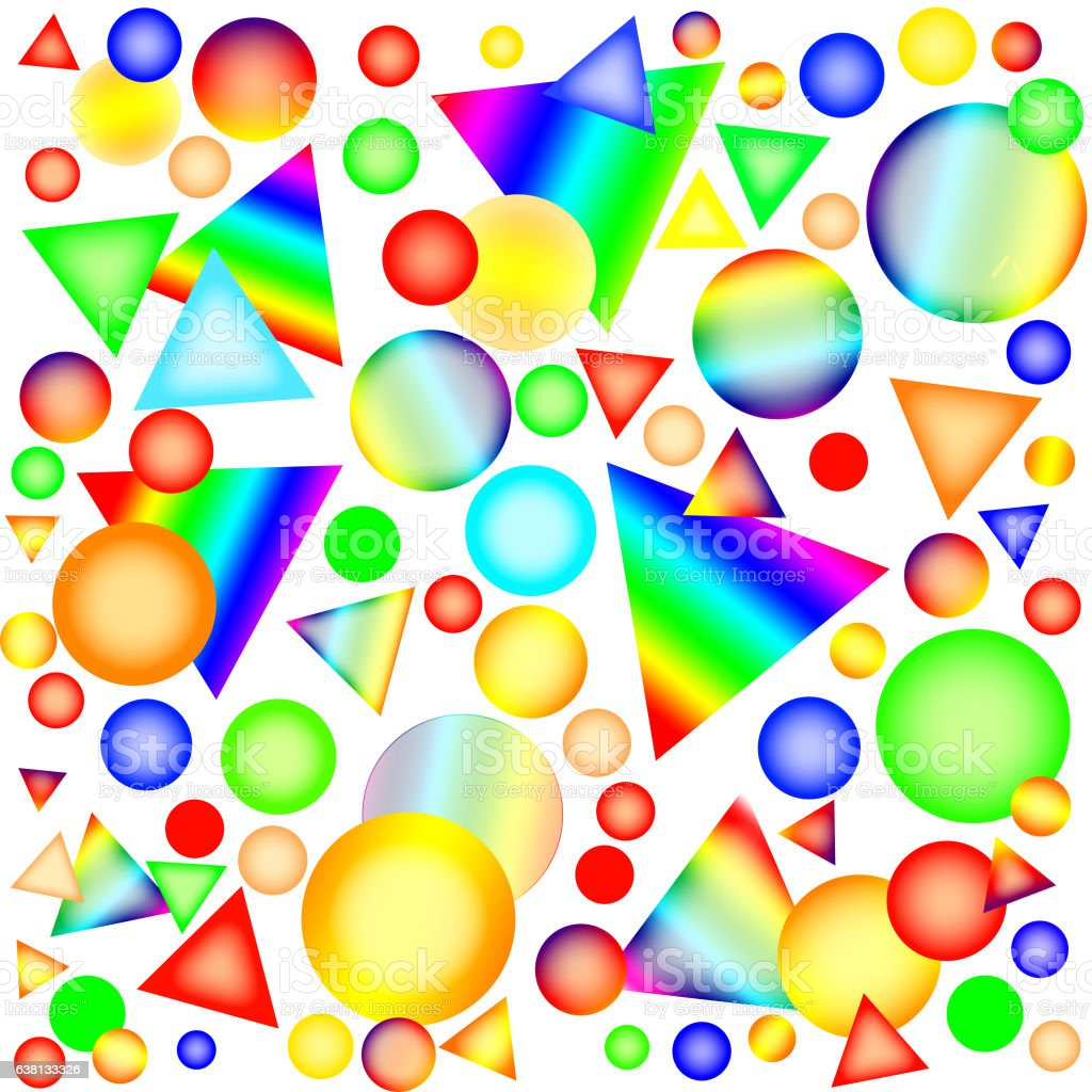 Multicolored circles, spheres and triangles in style 'candy' stock photo