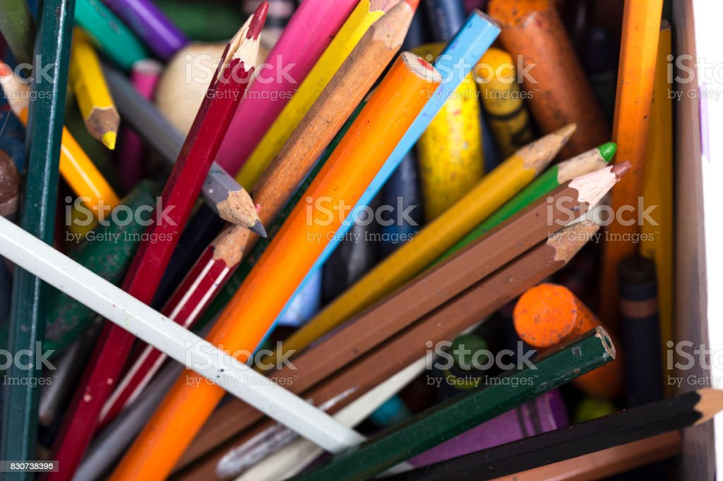 Multi-colored colouring pencils stock photo