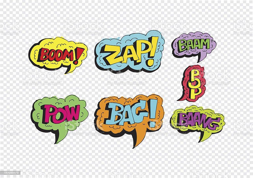 multicolored comic sound Effects  Speech Bubble Cartoon stock photo