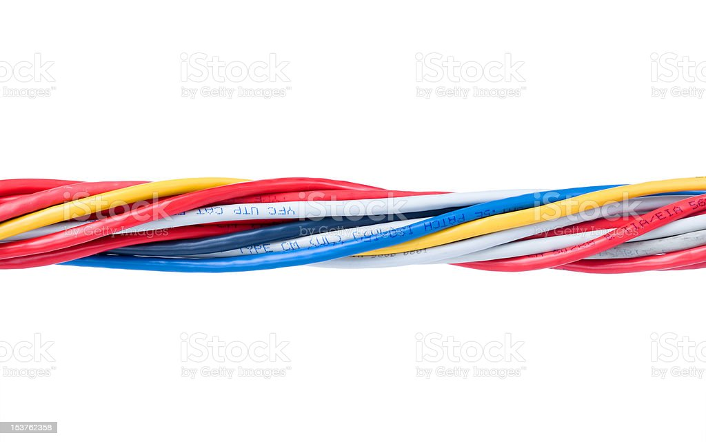 Multicolored computer cable isolated on white background royalty-free stock photo