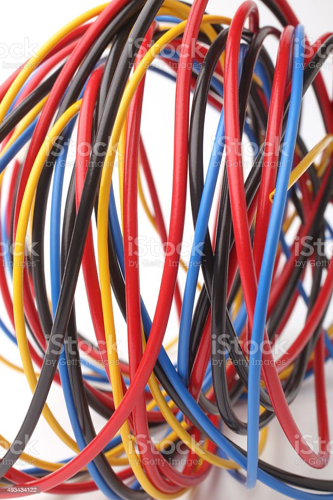 Multicolored computer cable stock photo