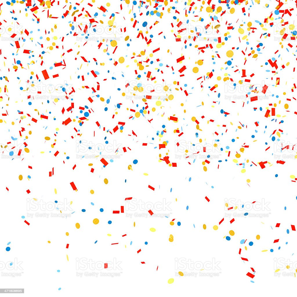 Multicolored confetti on a white background stock photo