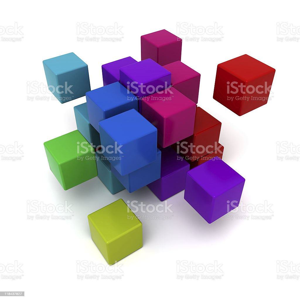 Multicolored cubic background royalty-free stock photo