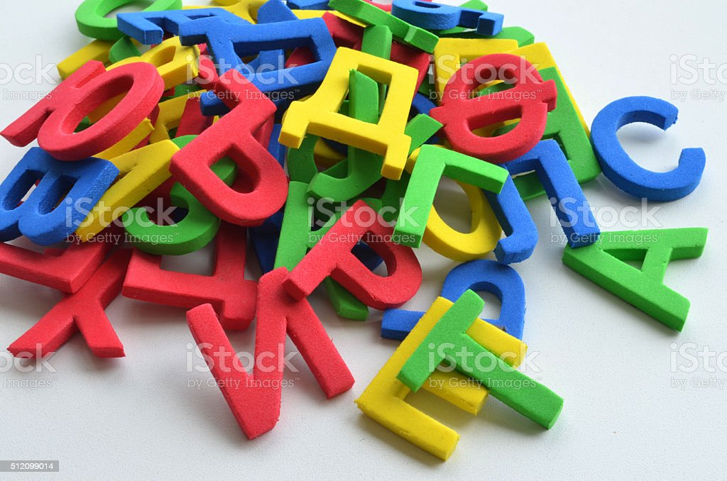 Multicolored Cyrillic letters stock photo