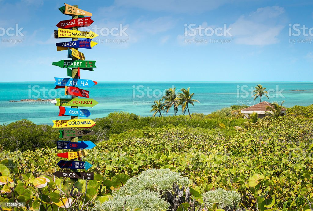 Multicolored direction sign post with funny directions stock photo