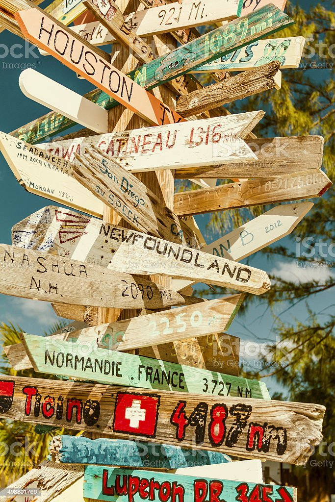 Multicolored directional signs stock photo