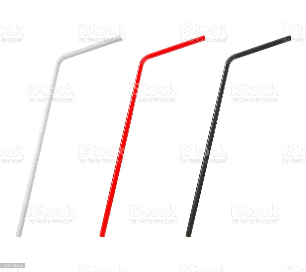 3D Multicolored Drinking Straws Isolated on White Background stock photo