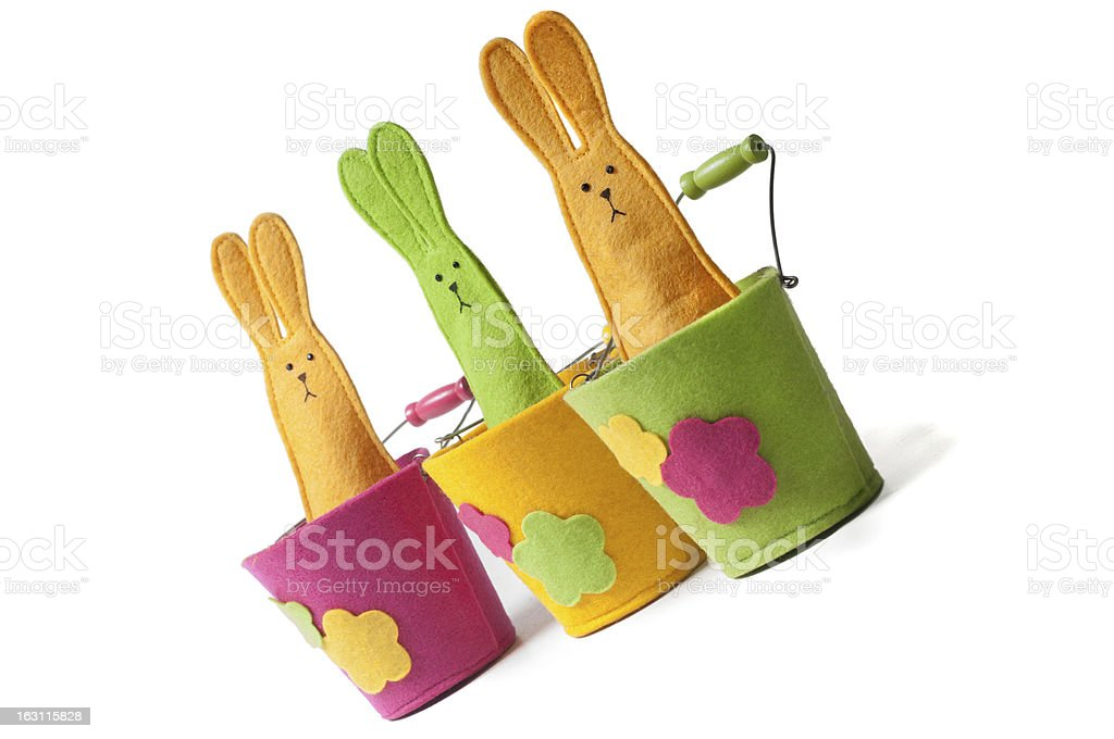 Multicolored easter bunnies (diagonal view) royalty-free stock photo