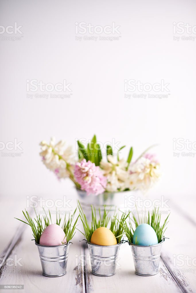 Multi-colored Easter symbols stock photo
