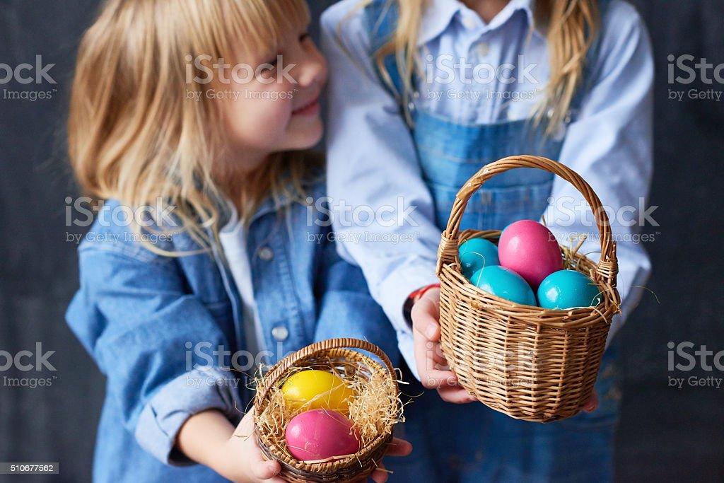 Multi-colored eggs stock photo