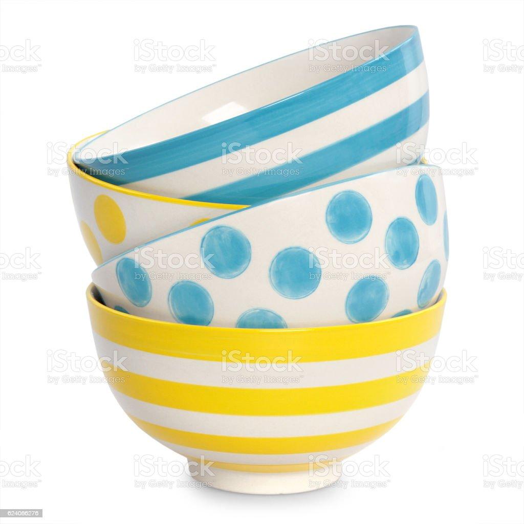 Multicolored empty bowls stock photo