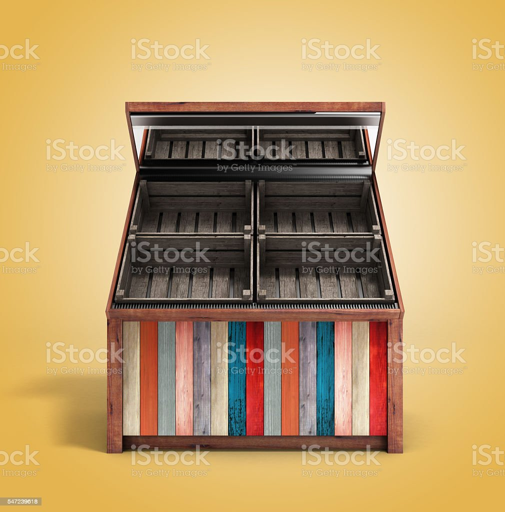 multicolored empty wooden vegetable shelving with boxes 3d rende stock photo