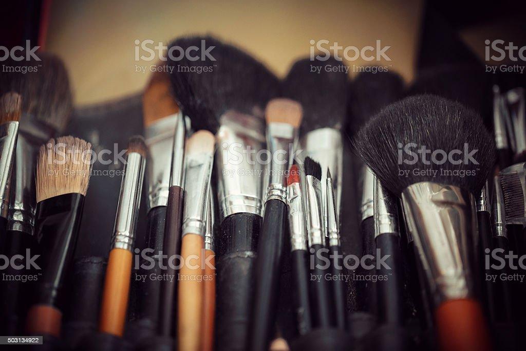 multicolored eye shadows with cosmetics brush stock photo