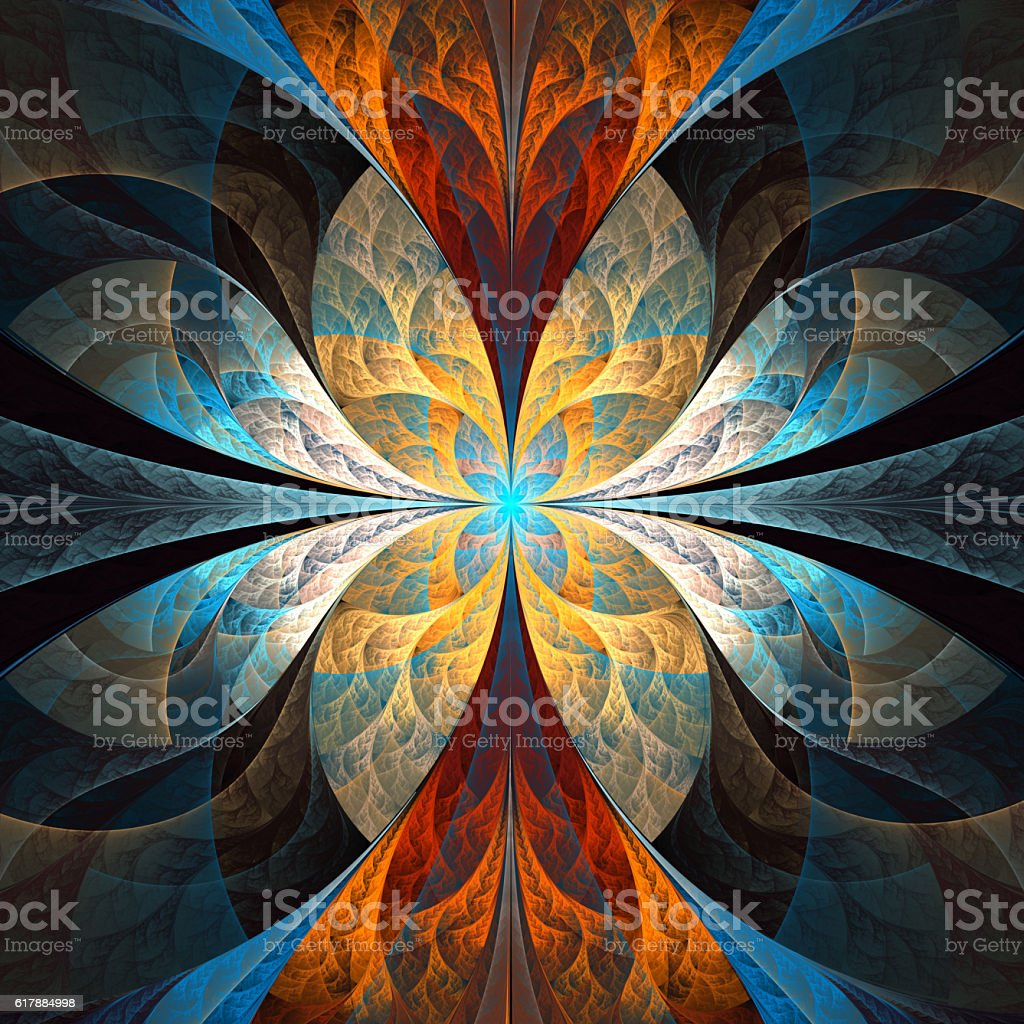Multicolored fabulous fractal pattern. stock photo