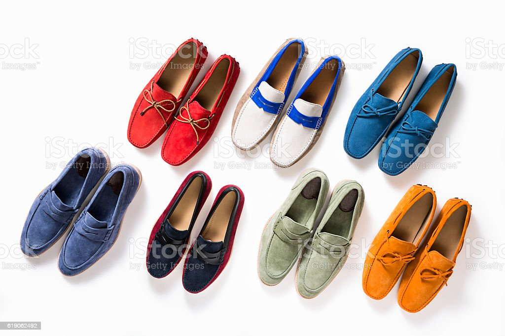 Multicolored female shoes stock photo