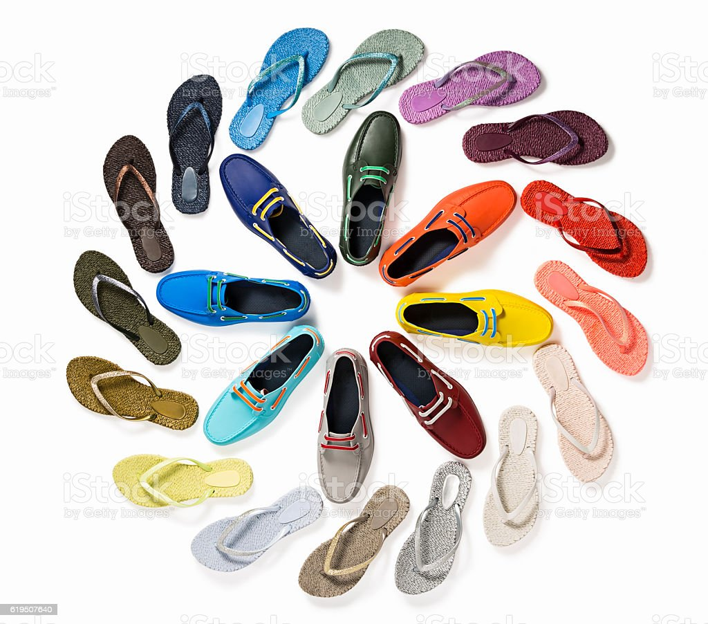 Multicolored female shoes stock photo