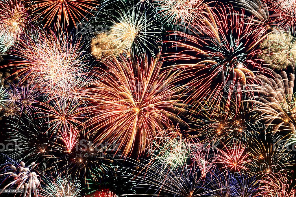 Multicolored fireworks horizontal stock photo