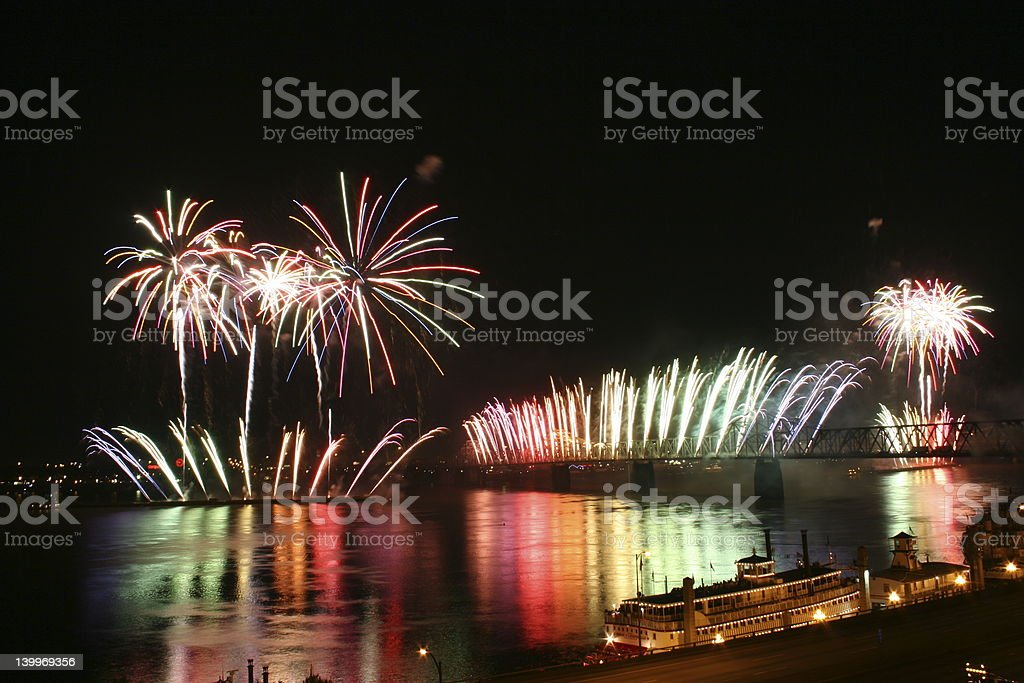 Multicolored fireworks over a river in Louisville stock photo