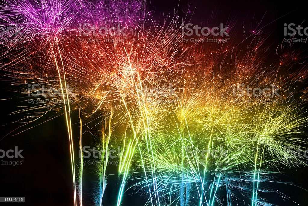 Multicolored Fireworks stock photo
