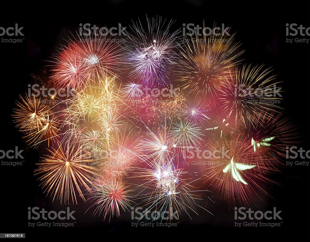 Multicolored Fireworks royalty-free stock photo