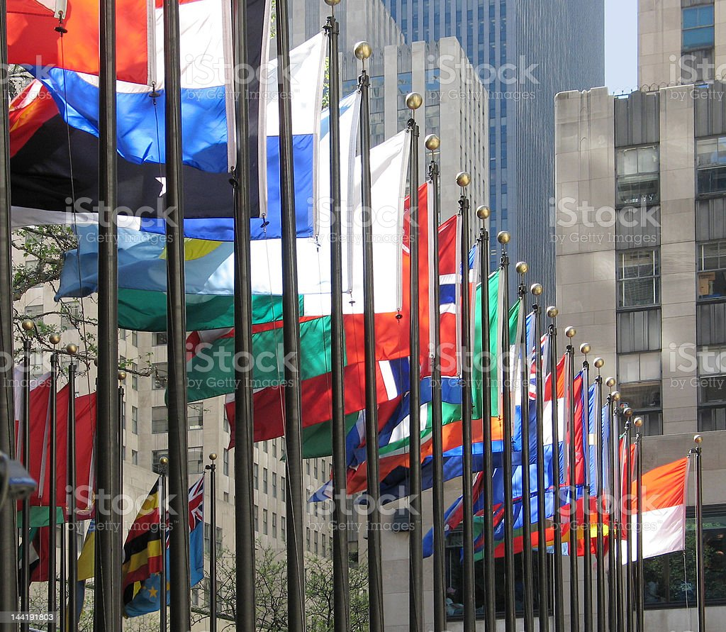 Multicolored flags in Rockefeller Plaza, New York City royalty-free stock photo