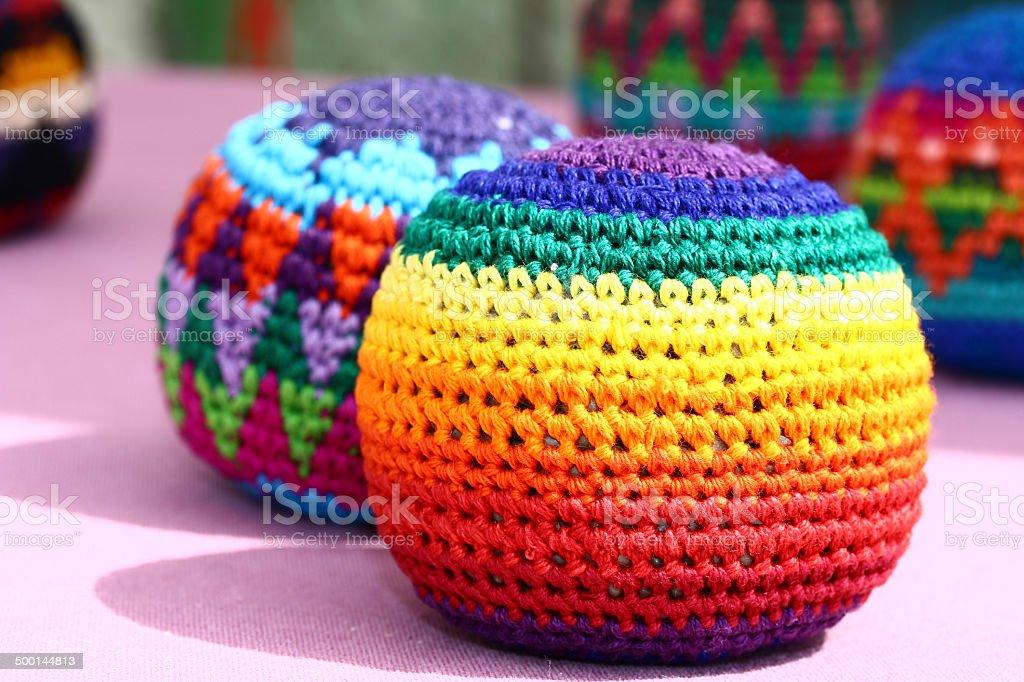 Multicolored Footbag play balls. stock photo