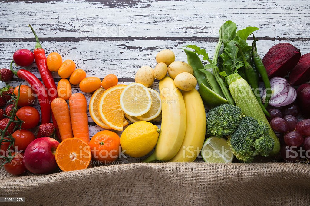 Multicolored fresh fruits and vegetables stock photo