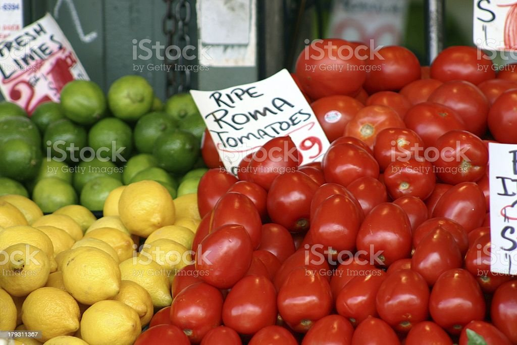 Multi-colored fruits featuring tomatoes royalty-free stock photo
