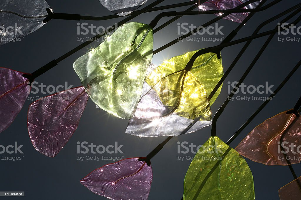 multi-colored glass backilt with sunshine stock photo