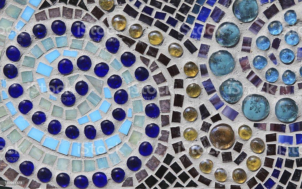 Multicolored Glass Mosaic with Swirl Pattern stock photo