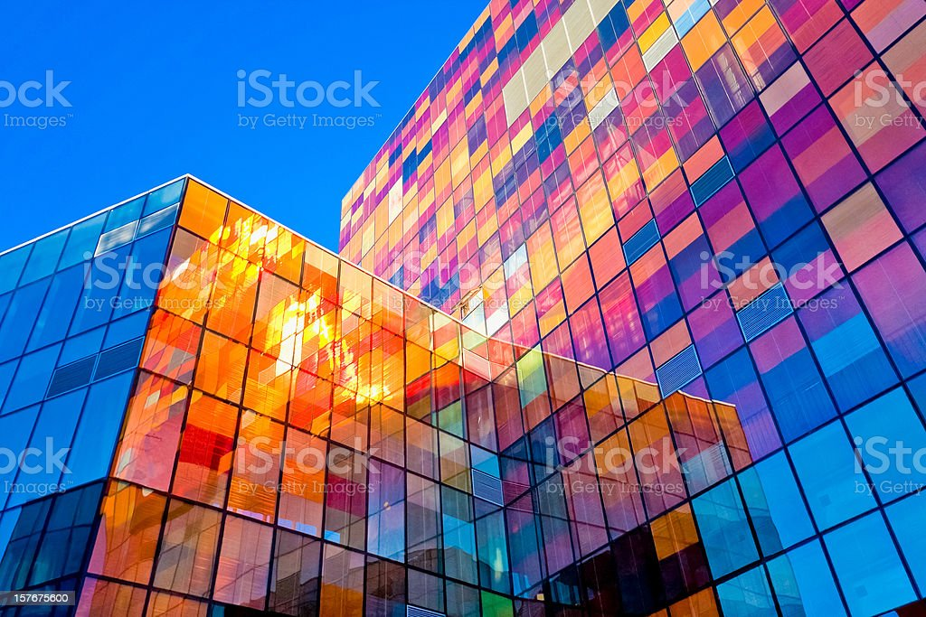 Multi-colored glass wall stock photo