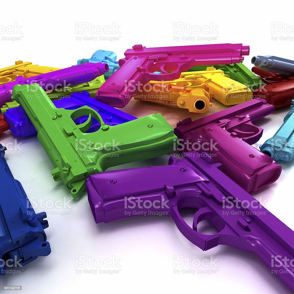Multicolored guns stock photo