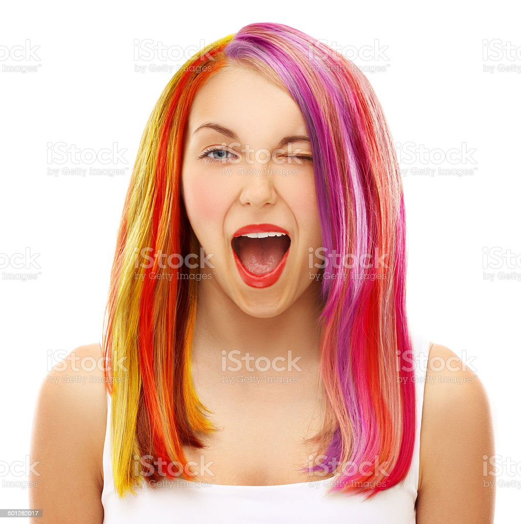 Multicolored hair.White background stock photo