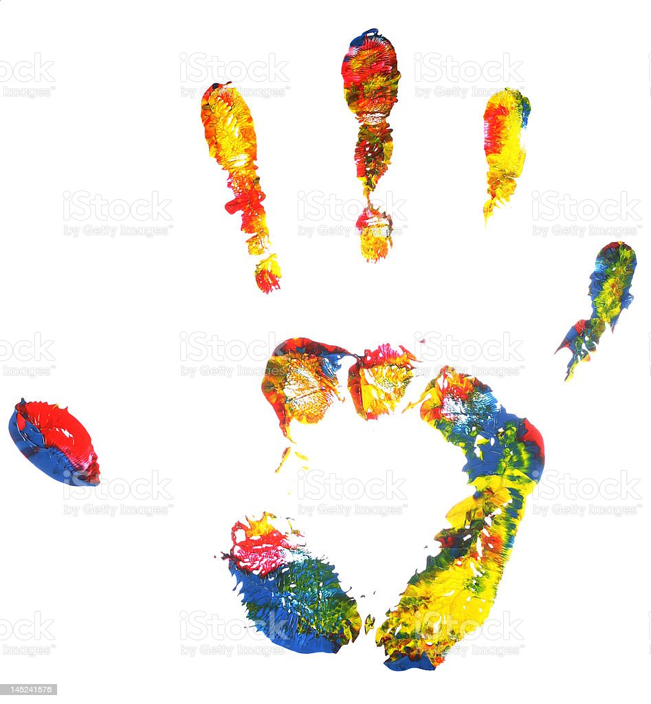 Multicolored hand print royalty-free stock photo